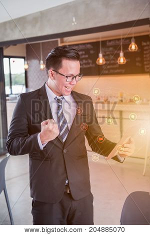 business man working on technology and innovation as Fintech
