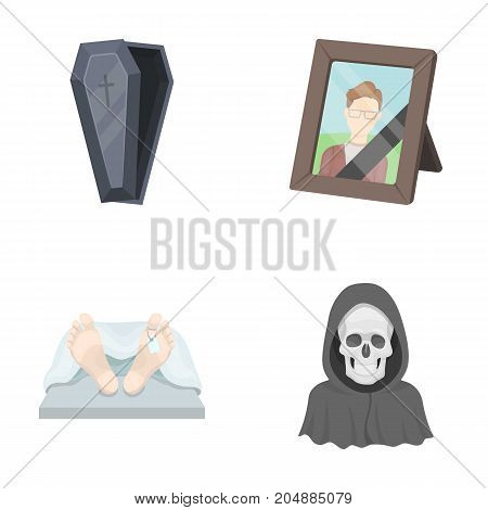 Coffin with a lid and a cross, a photograph of the deceased with a mourning ribbon, a corpse on the table with a tag in the morgue, death in a hood. Funeral ceremony set collection icons in cartoon style vector symbol stock illustration .