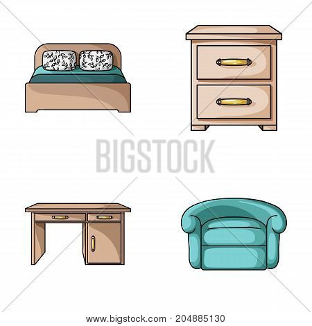 Interior, design, bed, bedroom .Furniture and home interiorset collection icons in cartoon style vector symbol stock illustration .