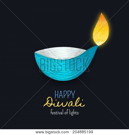 Happy Diwali. Indian diya. Festival of lights and fires. Dipawali celebration. Festive background. Card postcard poster banner or invitation. Vector illustration eps10