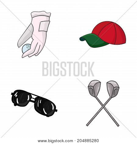 A glove for playing golf with a ball, a red cap, sunglasses, two clubs. Golf Club set collection icons in cartoon style vector symbol stock illustration .