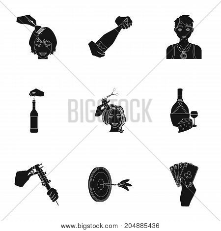 Darts, mirror with reflection, cigar in an ashtray, a bottle of champagne and other  icon in black style. Combination of cards in hand, a bottle of wine and a glass, hair cutting, heeled shoes icons in set collection.