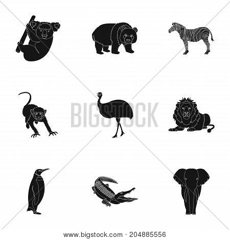 Ostrich emu, crocodile, giraffe, tiger, penguin and other wild animals. Artiodactyla, mammalian predators and animals set collection icons in black style vector symbol stock illustration .