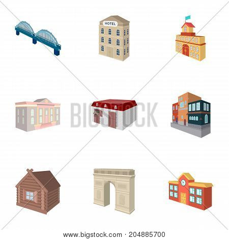Municipality building, bank office building, stable, wooden hut, bridge and other architectural structures. Architecture and facilities set collection icons in cartoon style vector symbol stock illustration .