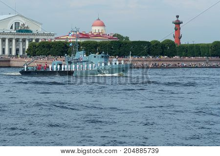 SAINT-PETERSBURG RUSSIA - JULY 30 2017: A combat ship at the naval parade in St. Petersburg
