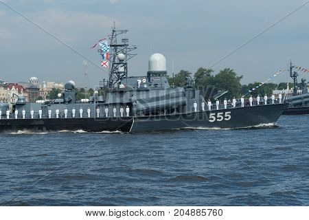 SAINT-PETERSBURG RUSSIA - JULY 30 2017: Missile boat at the naval parade in St. Petersburg