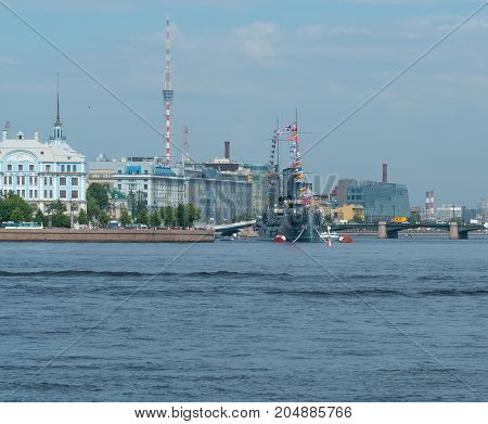 SAINT-PETERSBURG RUSSIA - JULY 30 2017: View of the cruiser Aurora during the naval parade in St. Petersburg