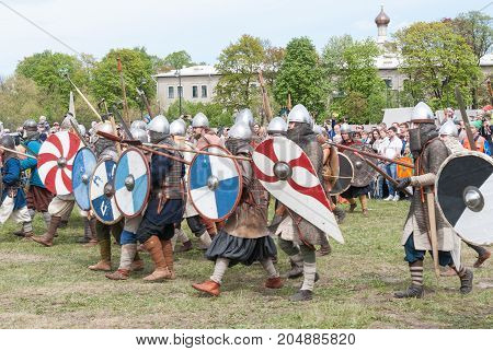 St. Petersburg Russia - May 27 2017: Historical reconstruction of the Viking battle in St. Petersburg Russia