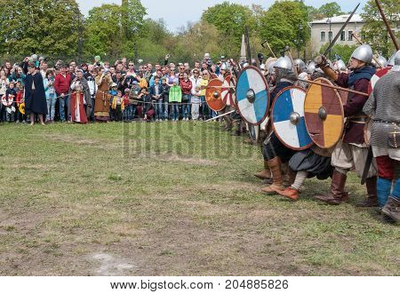 St. Petersburg Russia - May 27 2017: Demonstrative battle at the Viking Festival in St. Petersburg Russia