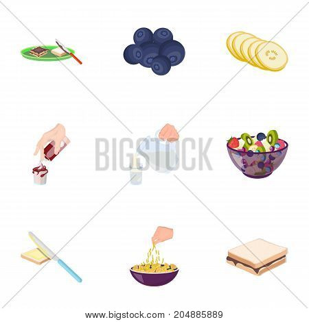 Fruit, dessert, sandwiches and other types of food. Food set collection icons in cartoon style vector symbol stock illustration .