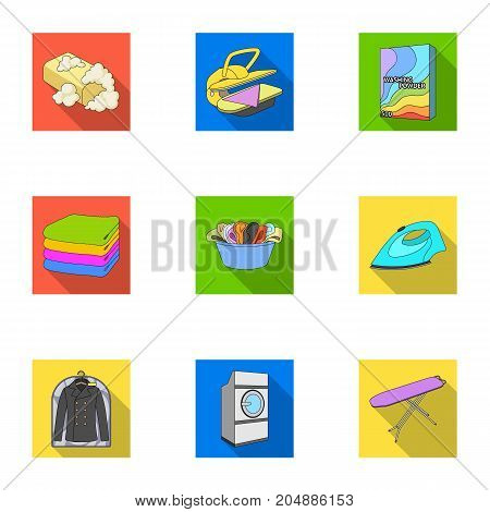 Washing machine, powder, iron and other equipment. Dry cleaning set collection icons in flat style vector symbol stock illustration .