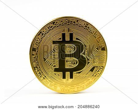 Golden bitcoin coin isolated on a white background