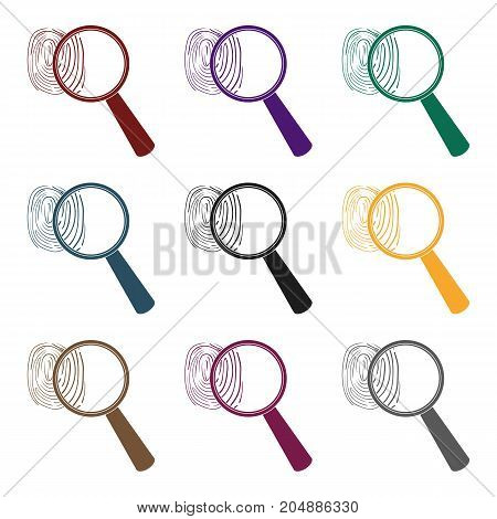 Magnifier and fingerprint. Detection of criminals by fingerprint.Prison single icon in black style vector symbol stock web illustration.