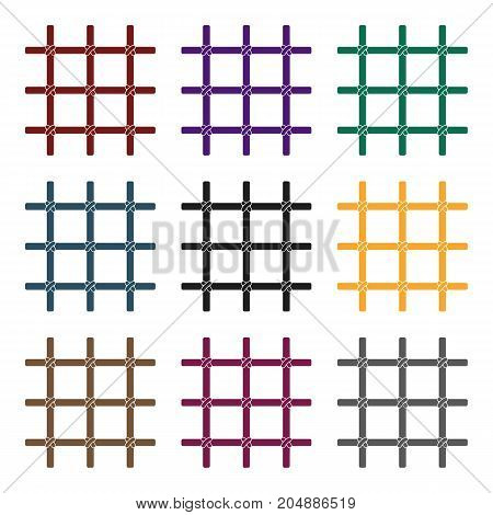 Lattice in the cell of the prisoner. A metal door to hold criminals.Prison single icon in black style vector symbol stock web illustration.