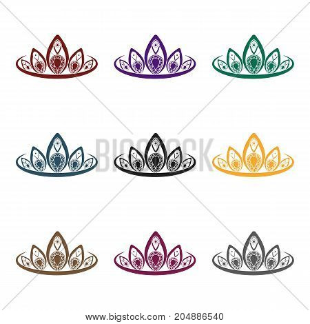 Diadem icon in black style isolated on white background. Jewelry and accessories symbol vector illustration.