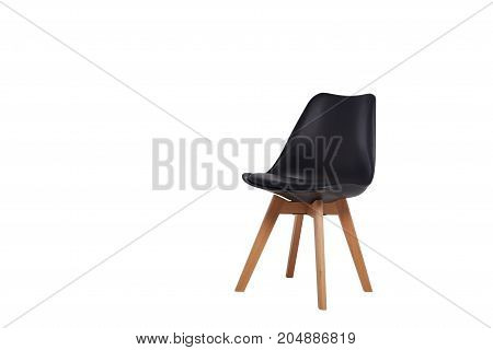 Modern Black Chair With Wooden Legs