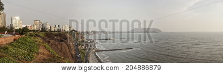 A Pano shot of Lima city beach in summer season