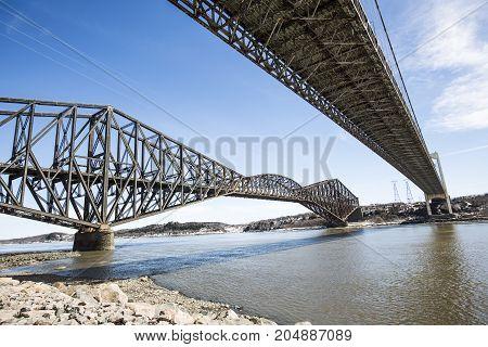 A panorama of the Pont de Quebec in spring season