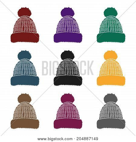Knit cap icon in black style isolated on white background. Ski resort symbol vector illustration.