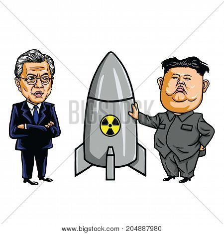 Kim Jong-un VS Moon Jae-in. Cartoon Caricature Vector Illustration. September 20, 2017