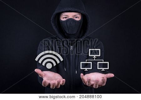 Hacker digital thief open palm gesture with wifi and network icon. Internet security and cyber attack concepts with working space