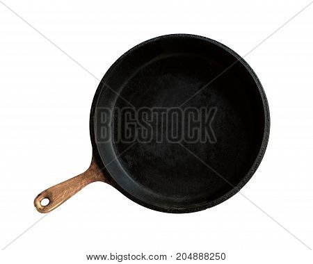 Isolated kitchenware black cooking pan with the brown wooden handle