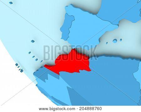 Morocco On Blue Political Globe