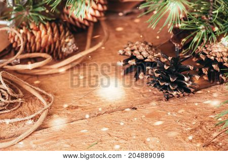 Fir Branches And Cones. Festive Christmas Time. Toned. Selective Focus And Copy Space.