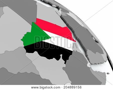 Map Of Sudan With Flag On Globe