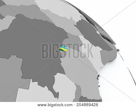 Map Of Rwanda With Flag On Globe