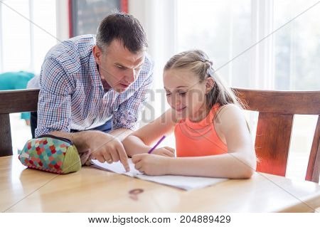 A Male Home Tutor Helping Teenage Girl With Studies