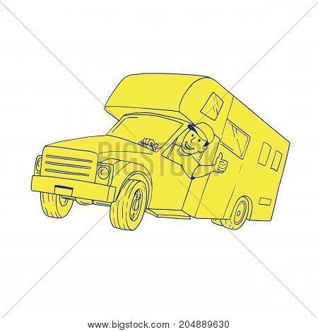 Cartoon style illustration of a Driver Thumbs Up driving Camper Van caravan Cartoon