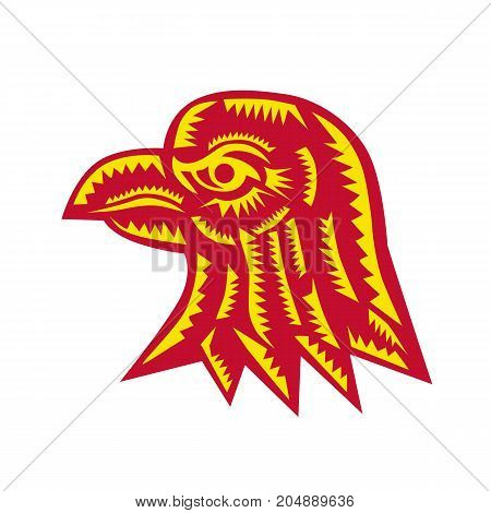 Retro woodcut style illustration of an eagle head viewed from side on isolated background.