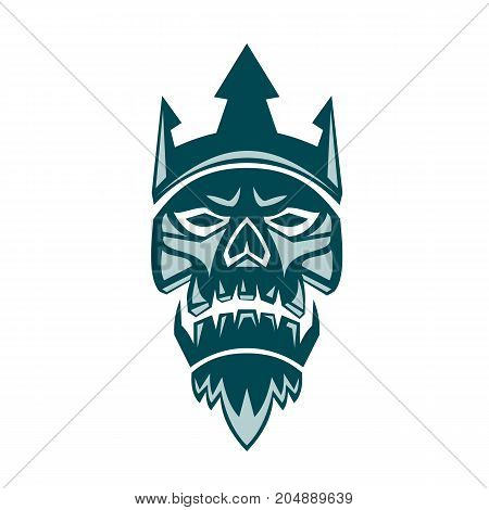 Retro style illustration of Neptune Skull wearing a Trident Crown looking up viewed from front omn isolated background.