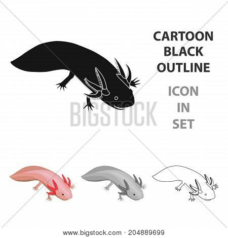 Mexican axolotl icon in cartoon style isolated on white background. Mexico country symbol vector illustration.