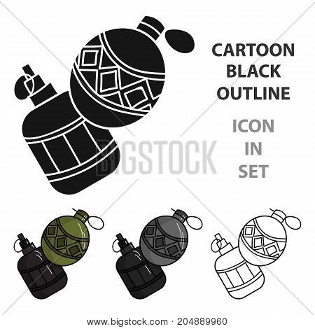 Paintball hand grenade icon in cartoon design isolated on white background. Paintball symbol stock vector illustration.