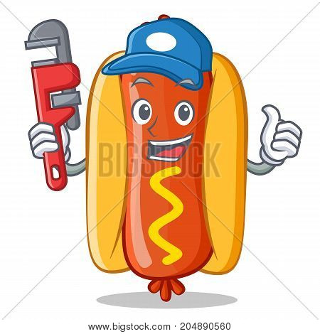 Plumber Hot Dog Cartoon Character Vector Illustration