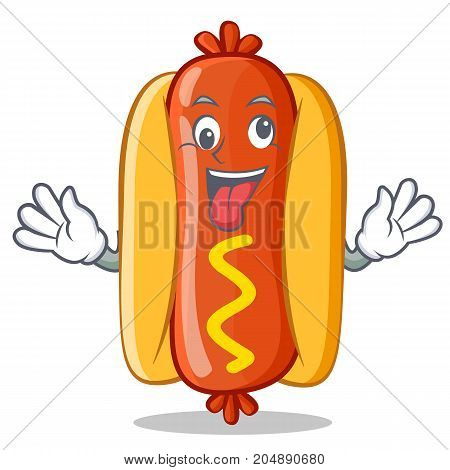 Crazy Hot Dog Cartoon Character Vector Illustration