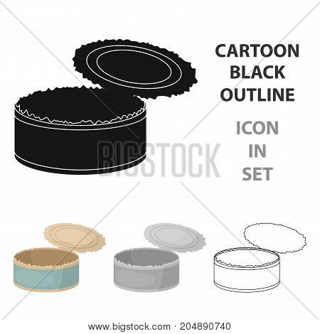 Opened metal tin can icon in cartoon style isolated on white background. Trash and garbage symbol vector illustration.