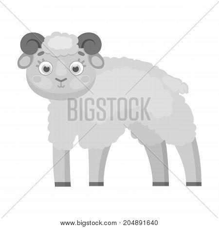 Sheep single icon in monochrome style.Sheep, vector symbol stock illustration .