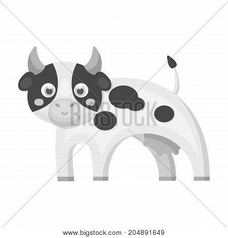 Cow, single icon in monochrome style.Cow, vector symbol stock illustration .