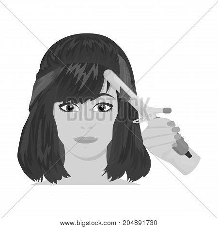Hair single icon in monochrome style.Hair, vector symbol stock illustration .