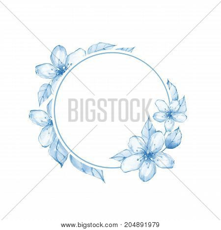 Watercolor floral frame. Watercolor background with delicate flowers