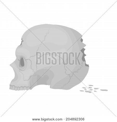 Skull single icon in monochrome style.Skull, vector symbol stock illustration .