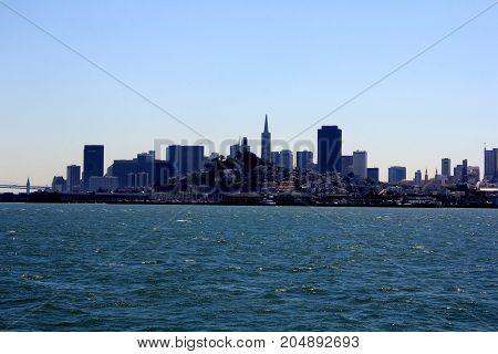 Panorama Of San Francisco And Bay Bridge Taken From Treasure Island