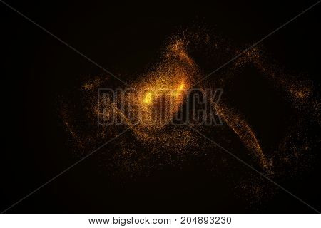 Abstract Background Made Of Orange Glowing Particles In Shape Of An Eye