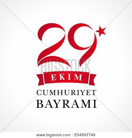 Translation: 29 october Republic Day Turkey and the National Day in Turkey in national flag color. Vector illustration