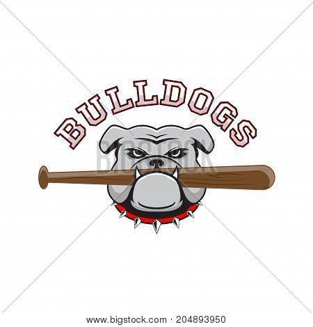 Logo bulldog with a baseball bat in the teeth on a white background