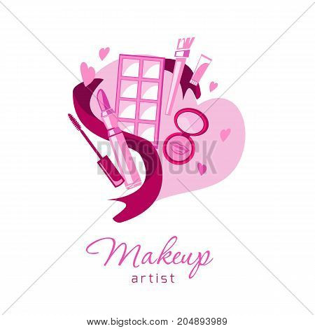 Loving make up artist beauty logo emblem with lipstick cream brush eye shadow on heart. Vector template illustration Cosmetics and fashion background for business card beauty salon visage