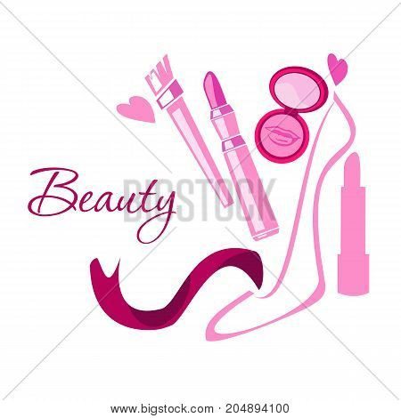 Make up style beauty logo emblem with lipstick brush powder shoes hearts pink ribbon. Vector template illustration Cosmetics and fashion background for business card book cover beauty salon